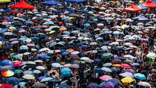The umbrellas of the protesterst, via The Guardian