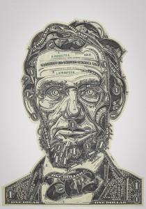 Mark Wagner's Dollar bills collages
