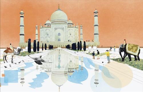 Natsko_Seki_Illustration_Art_Taj_Mahal_Collage_Digital_Handmade