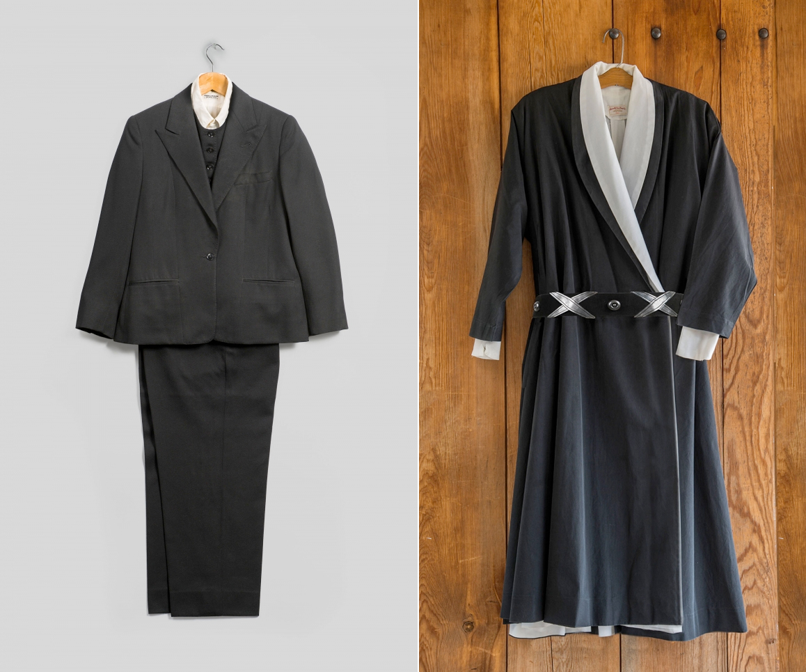 (left) Emsley. suit (jacket, pants, and vest), 1983. Black wool. Inner garment: Lord & Taylor. Shirt, circa 1960s. White cotton. Georgia O'Keeffe Museum. (right)Wrap Dress, circa 1960s–70s. Black cotton. Inner garment: Carol Sarkisian (American 1936-2013). Wrap dress, circa 1970s. White cotton. Georgia O'Keeffe Museum, Santa Fe, N.M. (photo: © Gavin Ashworth)