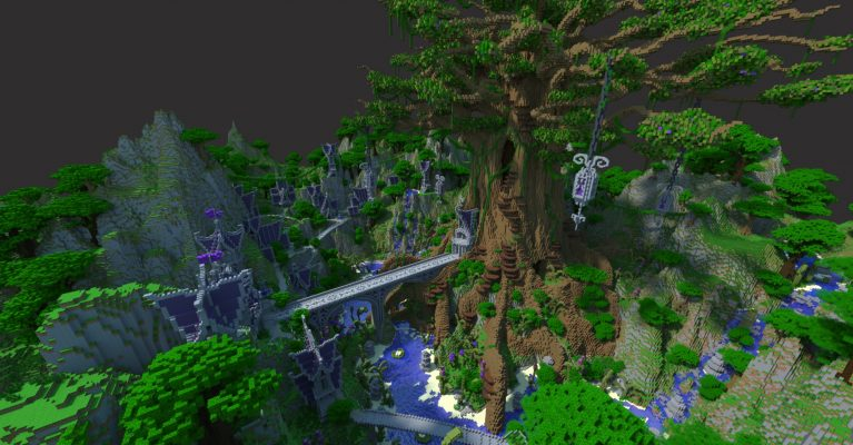 """JeraCraft's """"World's Biggest Minecraft Tree,"""" showing a ginormous custom tree with bridges and small buildings around it"""
